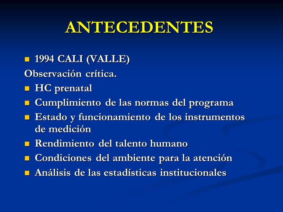 ANTECEDENTES 1994 CALI (VALLE) 1994 CALI (VALLE) Observación crítica. HC prenatal HC prenatal Cumplimiento de las normas del programa Cumplimiento de