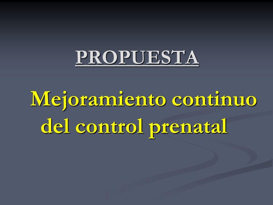 PROPUESTA Mejoramiento continuo del control prenatal
