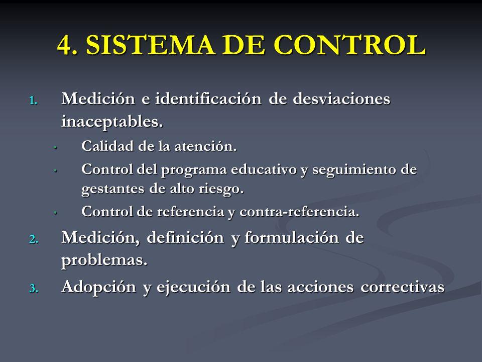 4. SISTEMA DE CONTROL 1. Medición e identificación de desviaciones inaceptables. Calidad de la atención. Calidad de la atención. Control del programa