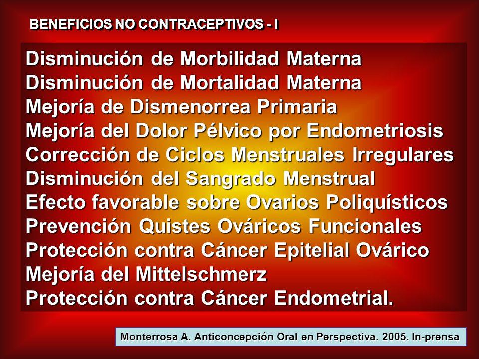 BENEFICIOS NO CONTRACEPTIVOS - II Protección contra Tumores Benignos mama Protección contra E.P.I.