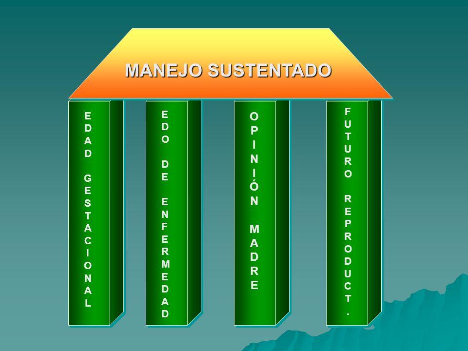 EDADGESTACIONALEDADGESTACIONAL EDODEENFERMEDADEDODEENFERMEDAD OPINIÓNMADREOPINIÓNMADRE FUTUROREPRODUCT.FUTUROREPRODUCT. MANEJO SUSTENTADO