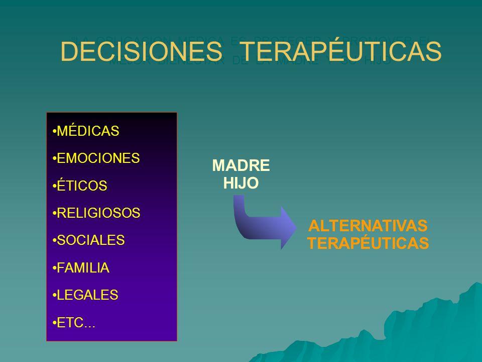 MADRE HIJO ALTERNATIVAS TERAPÉUTICAS LA OBLIGACION MEDICA ES PROTEGER Y PROMOVER EL MEJOR BIENESTAR DE LA MADRE Y SU HIJO DECISIONES TERAPÉUTICAS MÉDI