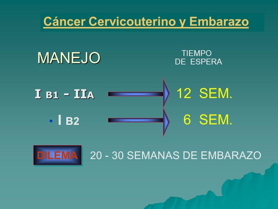 I B1 - II A MANEJO Cáncer Cervicouterino y Embarazo I B2 TIEMPO DE ESPERA 12 SEM. 6 SEM. DILEMA 20 - 30 SEMANAS DE EMBARAZO