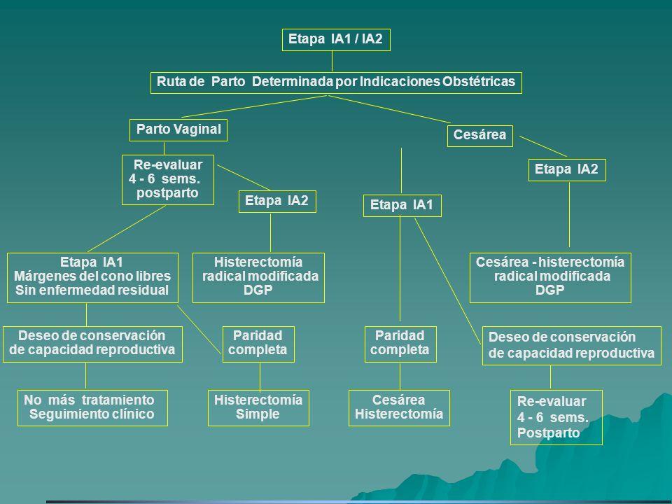 Etapa IA1 / IA2 Ruta de Parto Determinada por Indicaciones Obstétricas No más tratamiento Seguimiento clínico Histerectomía Simple Cesárea Histerectom