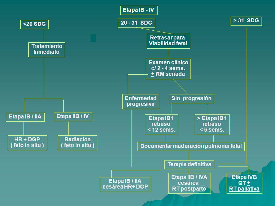 Etapa IB - IV <20 SDG 20 - 31 SDG > 31 SDG Examen clínico c/ 2 - 4 sems. + RM seriada Tratamiento Inmediato Etapa IB / IIA Etapa IIB / IV HR + DGP ( f