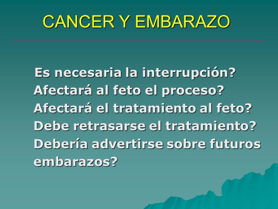 CANCER Y EMBARAZO Es necesaria la interrupción? Afectará al feto el proceso? Afectará al feto el proceso? Afectará el tratamiento al feto? Afectará el