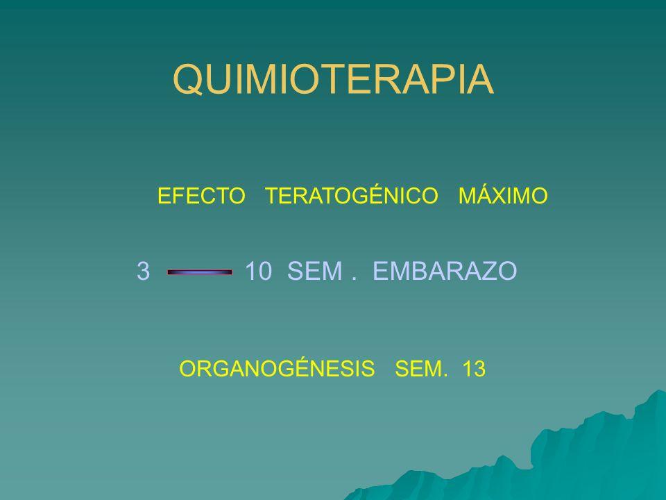 QUIMIOTERAPIA ORGANOGÉNESIS SEM. 13 EFECTO TERATOGÉNICO MÁXIMO 3 10 SEM. EMBARAZO