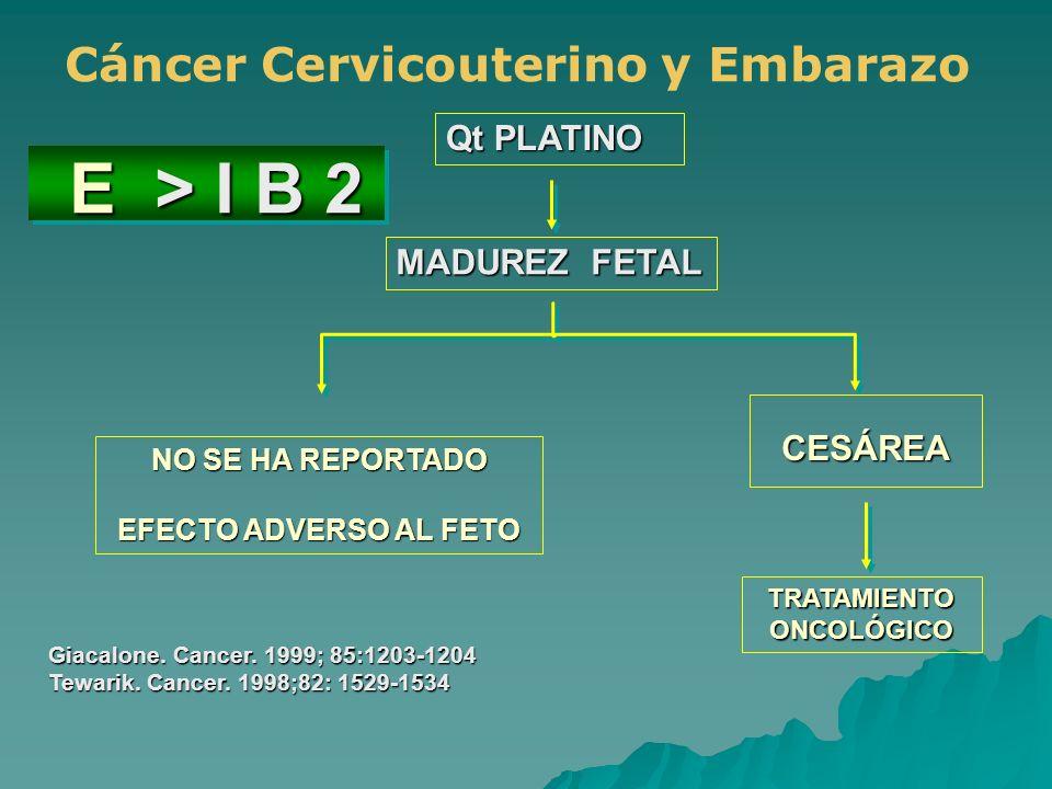 E > I B 2 E > I B 2 Qt PLATINO MADUREZ FETAL NO SE HA REPORTADO EFECTO ADVERSO AL FETO CESÁREA TRATAMIENTOONCOLÓGICO Giacalone. Cancer. 1999; 85:1203-