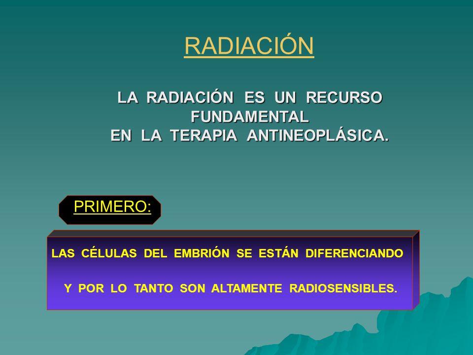 PRIMERO: RADIACIÓN LA RADIACIÓN ES UN RECURSO FUNDAMENTAL EN LA TERAPIA ANTINEOPLÁSICA. LAS CÉLULAS DEL EMBRIÓN SE ESTÁN DIFERENCIANDO Y POR LO TANTO