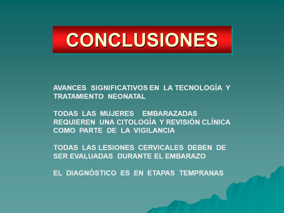 CONCLUSIONESCONCLUSIONES AVANCES SIGNIFICATIVOS EN LA TECNOLOGÍA Y TRATAMIENTO NEONATAL TODAS LAS MUJERES EMBARAZADAS REQUIEREN UNA CITOLOGÍA Y REVISI