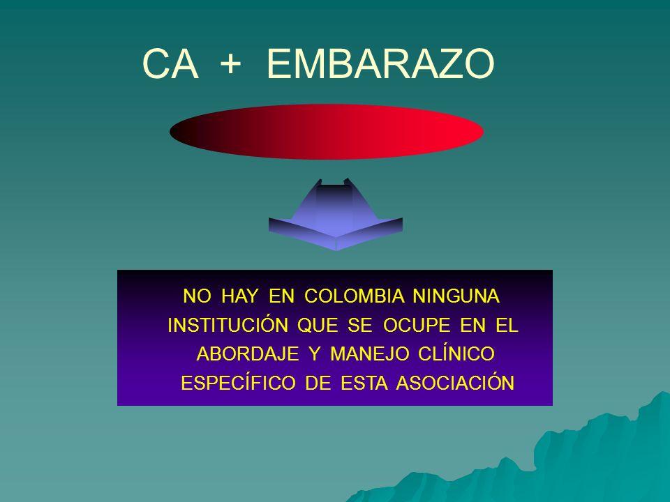 NO HAY EN COLOMBIA NINGUNA INSTITUCIÓN QUE SE OCUPE EN EL ABORDAJE Y MANEJO CLÍNICO ESPECÍFICO DE ESTA ASOCIACIÓN CA + EMBARAZO