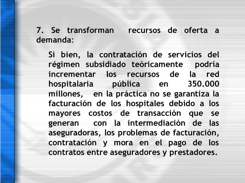 7. Se transforman recursos de oferta a demanda: Si bien, la contratación de servicios del régimen subsidiado teóricamente podría incrementar los recur