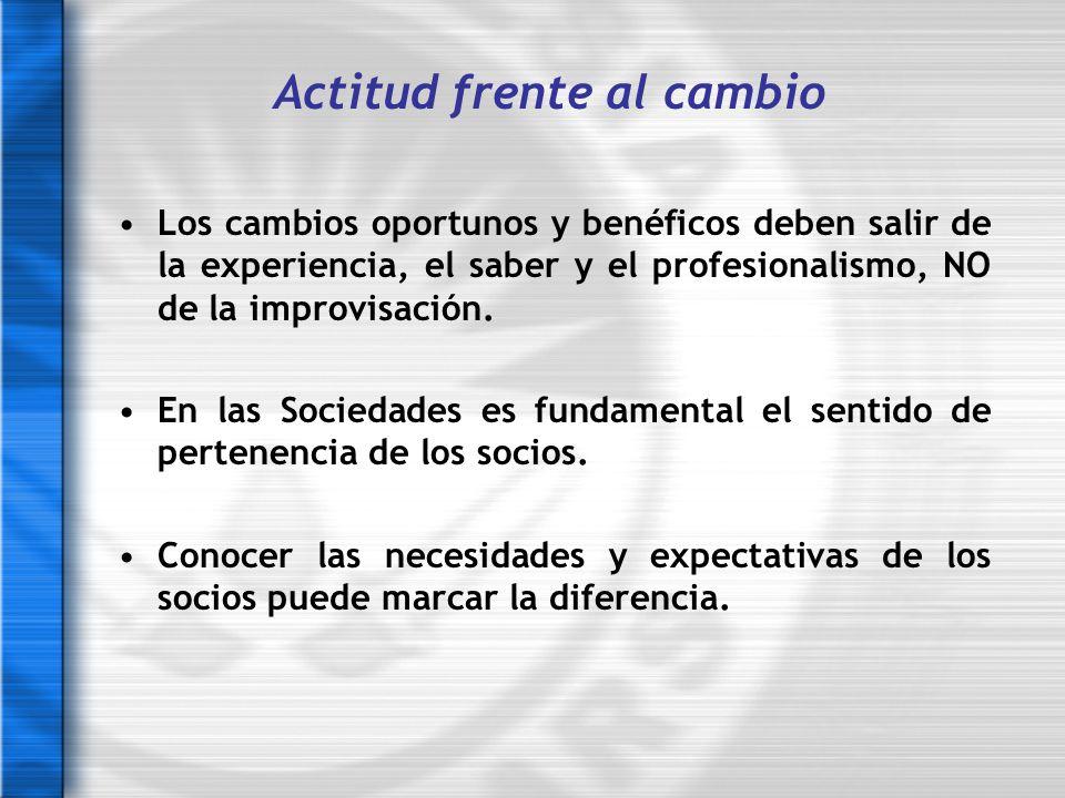 Los cambios oportunos y benéficos deben salir de la experiencia, el saber y el profesionalismo, NO de la improvisación. En las Sociedades es fundament
