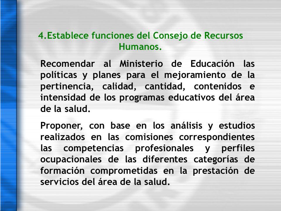 4.Establece funciones del Consejo de Recursos Humanos. Recomendar al Ministerio de Educación las políticas y planes para el mejoramiento de la pertine