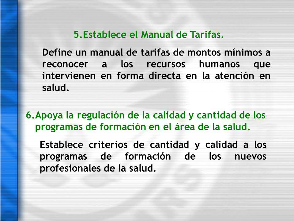 5.Establece el Manual de Tarifas. Define un manual de tarifas de montos mínimos a reconocer a los recursos humanos que intervienen en forma directa en