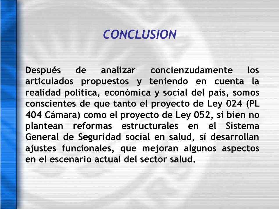 CONCLUSION Después de analizar concienzudamente los articulados propuestos y teniendo en cuenta la realidad política, económica y social del país, som