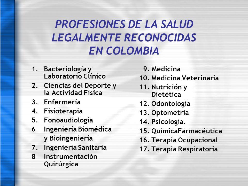 PROFESIONES DE LA SALUD LEGALMENTE RECONOCIDAS EN COLOMBIA 1.Bacteriología y Laboratorio Clínico 2. Ciencias del Deporte y la Actividad Física 3.Enfer