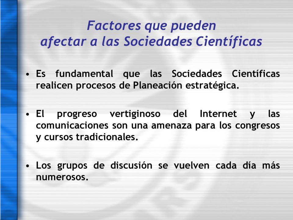 Es fundamental que las Sociedades Científicas realicen procesos de Planeación estratégica. El progreso vertiginoso del Internet y las comunicaciones s