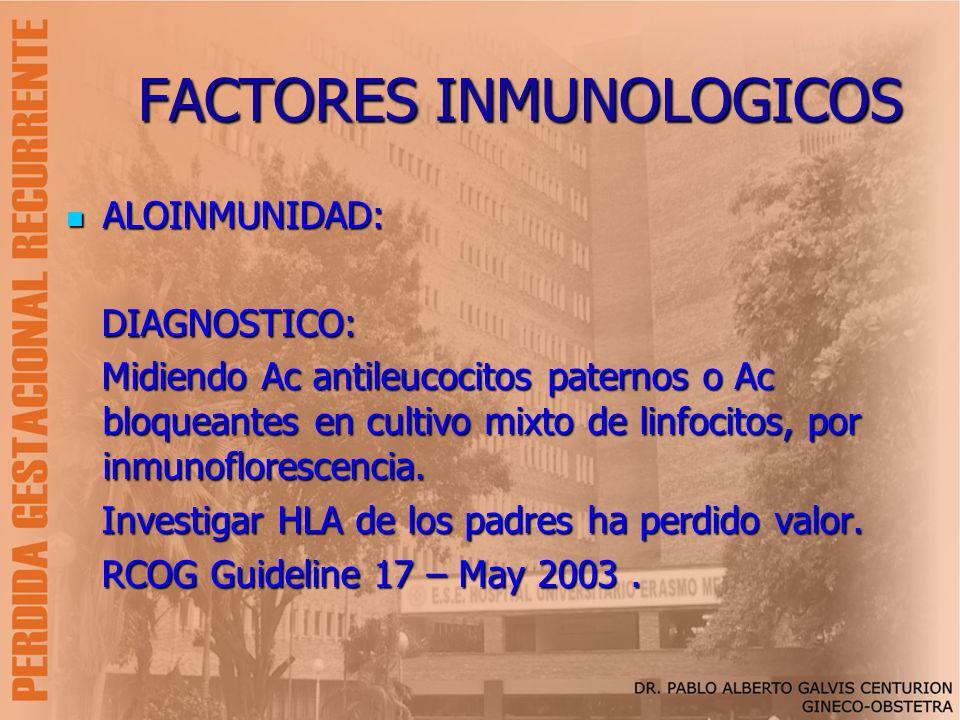 FACTORES INMUNOLOGICOS ALOINMUNIDAD: ALOINMUNIDAD: DIAGNOSTICO: DIAGNOSTICO: Midiendo Ac antileucocitos paternos o Ac bloqueantes en cultivo mixto de