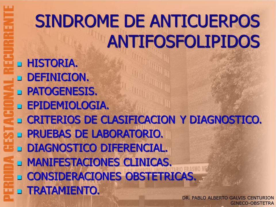 SINDROME DE ANTICUERPOS ANTIFOSFOLIPIDOS HISTORIA. HISTORIA. DEFINICION. DEFINICION. PATOGENESIS. PATOGENESIS. EPIDEMIOLOGIA. EPIDEMIOLOGIA. CRITERIOS