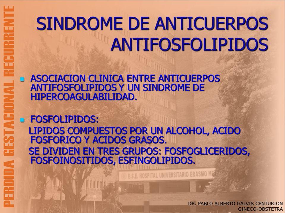 SINDROME DE ANTICUERPOS ANTIFOSFOLIPIDOS ASOCIACION CLINICA ENTRE ANTICUERPOS ANTIFOSFOLIPIDOS Y UN SINDROME DE HIPERCOAGULABILIDAD. ASOCIACION CLINIC
