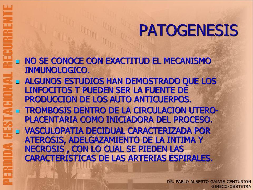 PATOGENESIS NO SE CONOCE CON EXACTITUD EL MECANISMO INMUNOLOGICO. NO SE CONOCE CON EXACTITUD EL MECANISMO INMUNOLOGICO. ALGUNOS ESTUDIOS HAN DEMOSTRAD