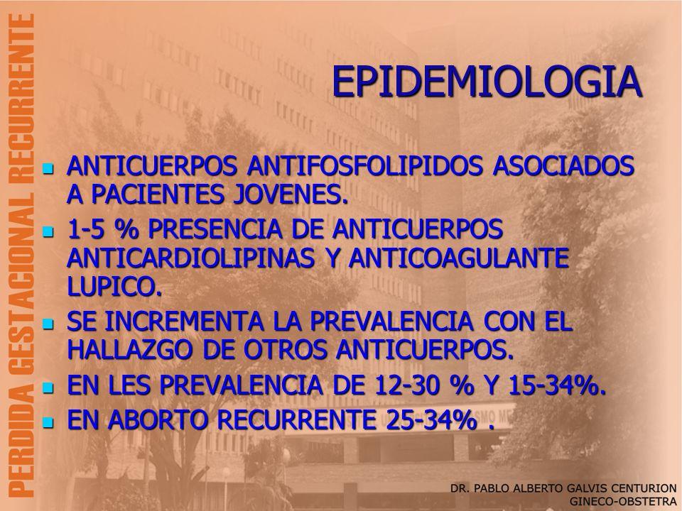EPIDEMIOLOGIA ANTICUERPOS ANTIFOSFOLIPIDOS ASOCIADOS A PACIENTES JOVENES. ANTICUERPOS ANTIFOSFOLIPIDOS ASOCIADOS A PACIENTES JOVENES. 1-5 % PRESENCIA