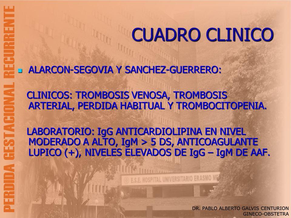 CUADRO CLINICO ALARCON-SEGOVIA Y SANCHEZ-GUERRERO: ALARCON-SEGOVIA Y SANCHEZ-GUERRERO: CLINICOS: TROMBOSIS VENOSA, TROMBOSIS ARTERIAL, PERDIDA HABITUA