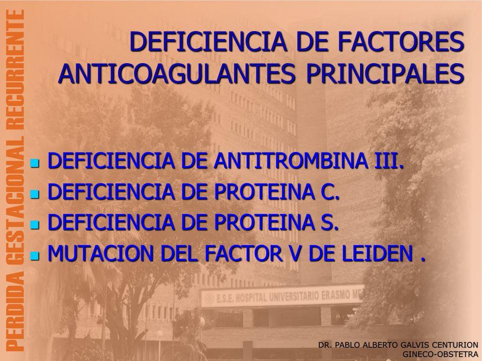 DEFICIENCIA DE FACTORES ANTICOAGULANTES PRINCIPALES DEFICIENCIA DE ANTITROMBINA III. DEFICIENCIA DE ANTITROMBINA III. DEFICIENCIA DE PROTEINA C. DEFIC