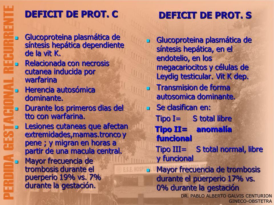 DEFICIT DE PROT. C Glucoproteina plasmática de síntesis hepática dependiente de la vit K. Glucoproteina plasmática de síntesis hepática dependiente de