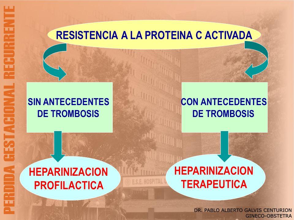 RESISTENCIA A LA PROTEINA C ACTIVADA SIN ANTECEDENTES DE TROMBOSIS CON ANTECEDENTES DE TROMBOSIS HEPARINIZACION PROFILACTICA HEPARINIZACION TERAPEUTIC