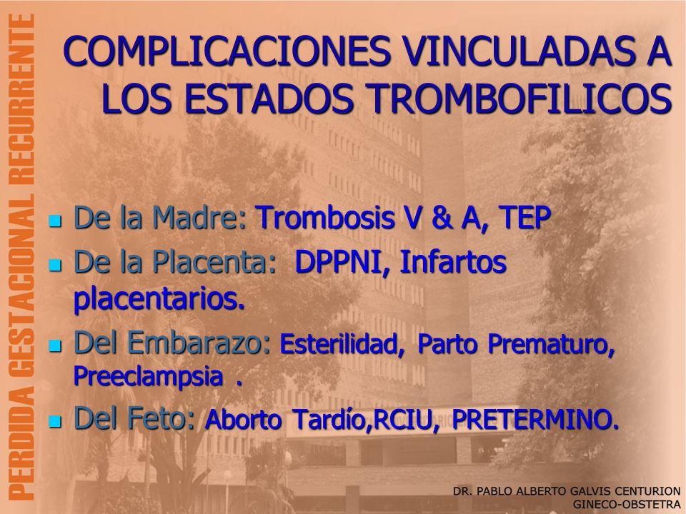 COMPLICACIONES VINCULADAS A LOS ESTADOS TROMBOFILICOS De la Madre: Trombosis V & A, TEP De la Madre: Trombosis V & A, TEP De la Placenta: DPPNI, Infar