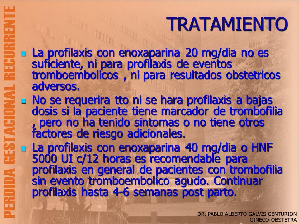 TRATAMIENTO La profilaxis con enoxaparina 20 mg/dia no es suficiente, ni para profilaxis de eventos tromboembolicos, ni para resultados obstetricos ad