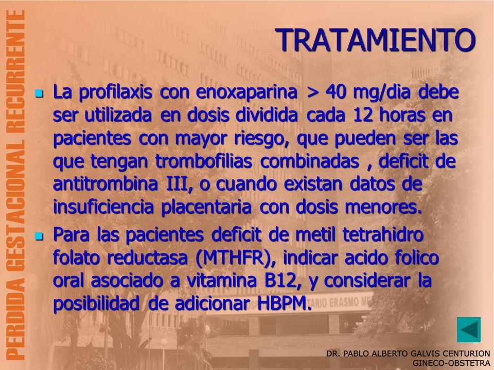 TRATAMIENTO La profilaxis con enoxaparina > 40 mg/dia debe ser utilizada en dosis dividida cada 12 horas en pacientes con mayor riesgo, que pueden ser