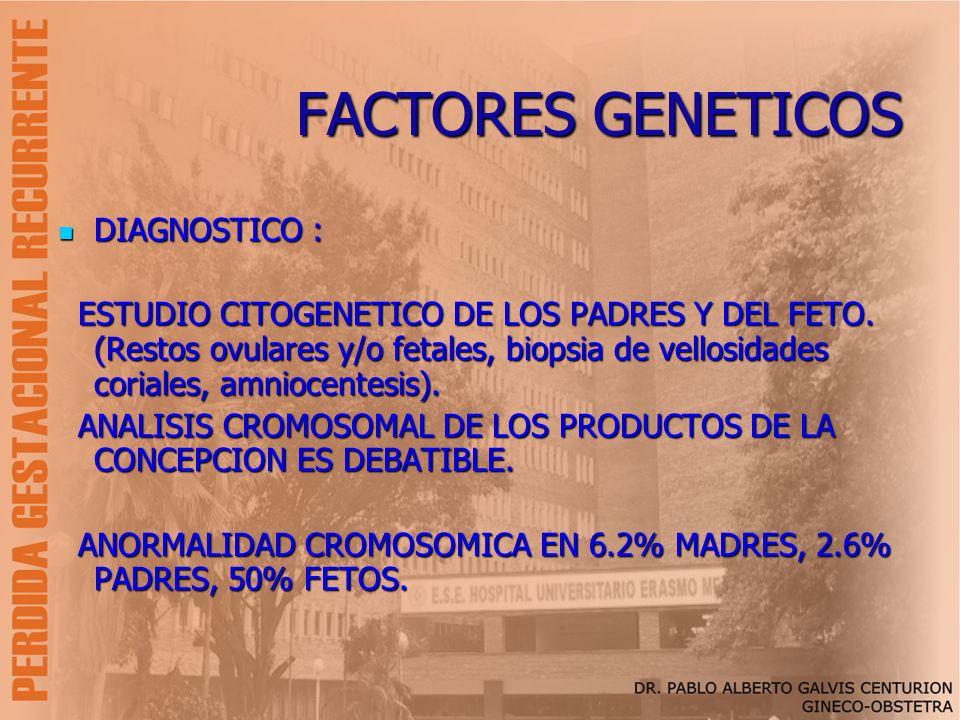 FACTORES GENETICOS DIAGNOSTICO : DIAGNOSTICO : ESTUDIO CITOGENETICO DE LOS PADRES Y DEL FETO. (Restos ovulares y/o fetales, biopsia de vellosidades co