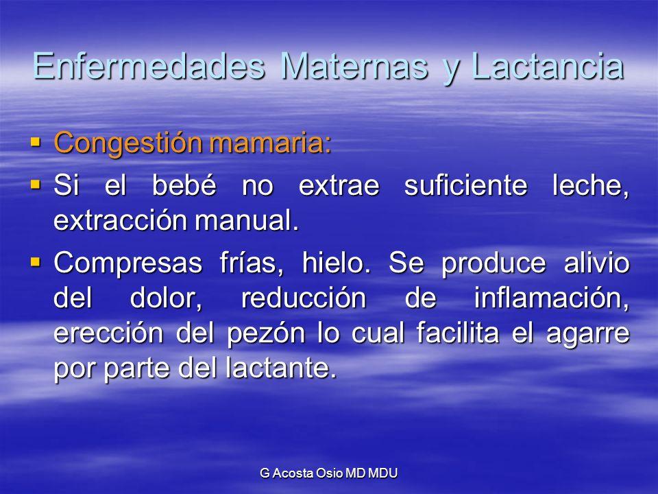 G Acosta Osio MD MDU Enfermedades Maternas y Lactancia Congestión mamaria: Congestión mamaria: Si el bebé no extrae suficiente leche, extracción manua
