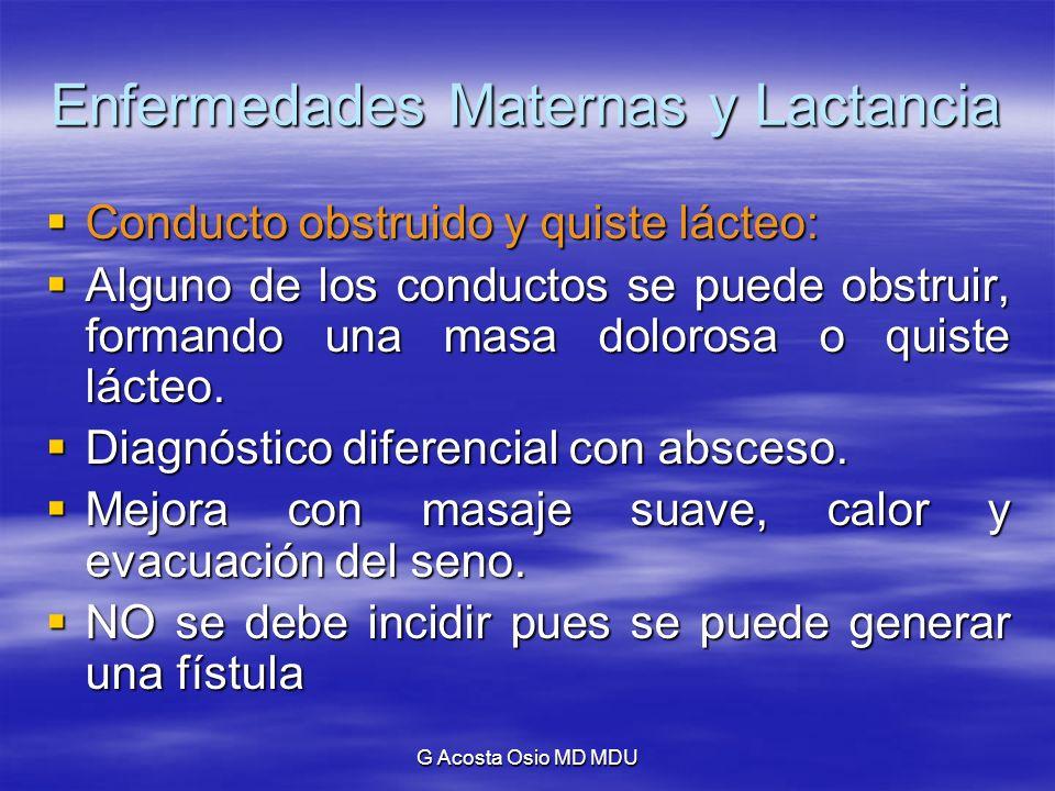 G Acosta Osio MD MDU Enfermedades Maternas y Lactancia Conducto obstruido y quiste lácteo: Conducto obstruido y quiste lácteo: Alguno de los conductos