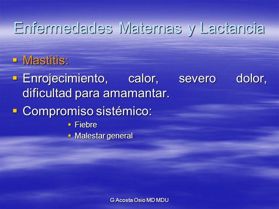G Acosta Osio MD MDU Enfermedades Maternas y Lactancia Mastitis: Mastitis: Enrojecimiento, calor, severo dolor, dificultad para amamantar. Enrojecimie