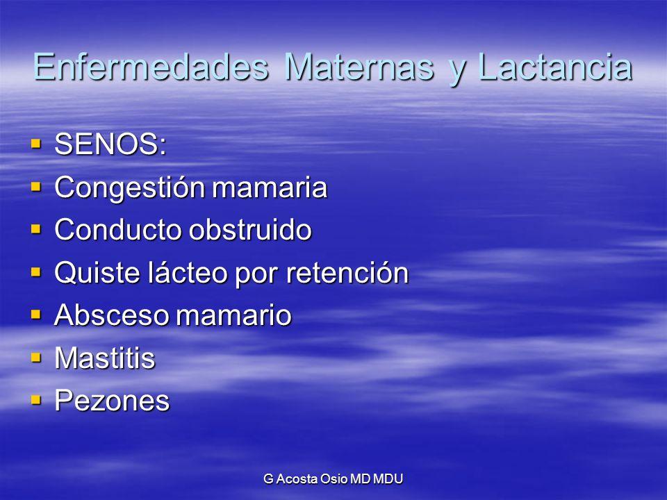 G Acosta Osio MD MDU Enfermedades Maternas y Lactancia Absceso mamario: Absceso mamario: Más frecuente por actividad intensa, ansiedad materna, problemas domésticos, angustias de cualquier orden.