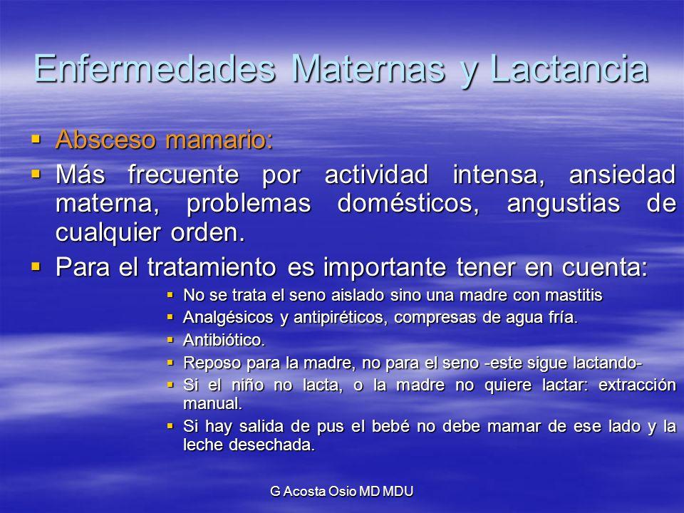 G Acosta Osio MD MDU Enfermedades Maternas y Lactancia Absceso mamario: Absceso mamario: Más frecuente por actividad intensa, ansiedad materna, proble