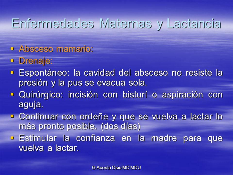 G Acosta Osio MD MDU Enfermedades Maternas y Lactancia Absceso mamario: Absceso mamario: Drenaje: Drenaje: Espontáneo: la cavidad del absceso no resis