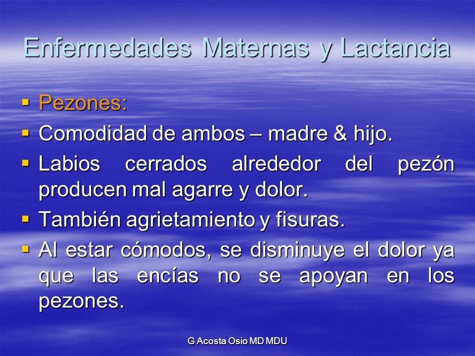 G Acosta Osio MD MDU Enfermedades Maternas y Lactancia Pezones: Pezones: Comodidad de ambos – madre & hijo. Comodidad de ambos – madre & hijo. Labios