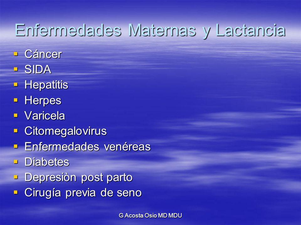 G Acosta Osio MD MDU Enfermedades Maternas y Lactancia 1994: Proteger la Lactancia Materna: hagamos que el Código (de Comercialización de Sucedáneos de la Leche Materna) funcione.