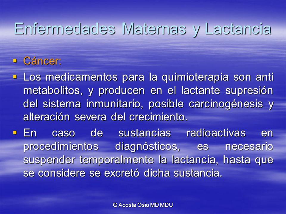 G Acosta Osio MD MDU Enfermedades Maternas y Lactancia Cáncer: Cáncer: Los medicamentos para la quimioterapia son anti metabolitos, y producen en el l
