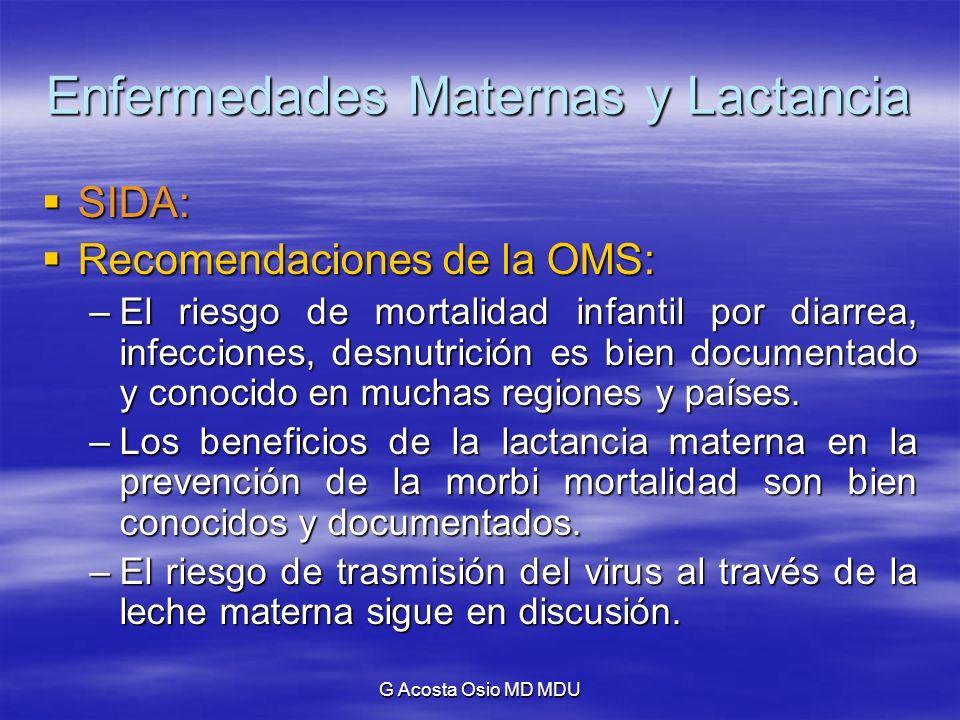 G Acosta Osio MD MDU Enfermedades Maternas y Lactancia SIDA: SIDA: Recomendaciones de la OMS: Recomendaciones de la OMS: –El riesgo de mortalidad infa