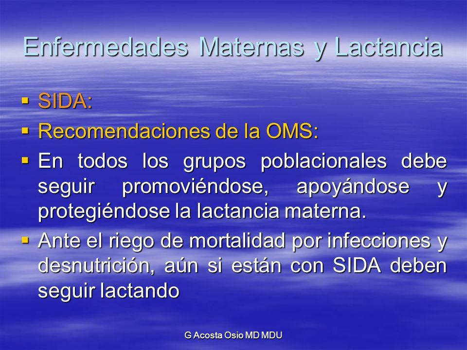 G Acosta Osio MD MDU Enfermedades Maternas y Lactancia SIDA: SIDA: Recomendaciones de la OMS: Recomendaciones de la OMS: En todos los grupos poblacion