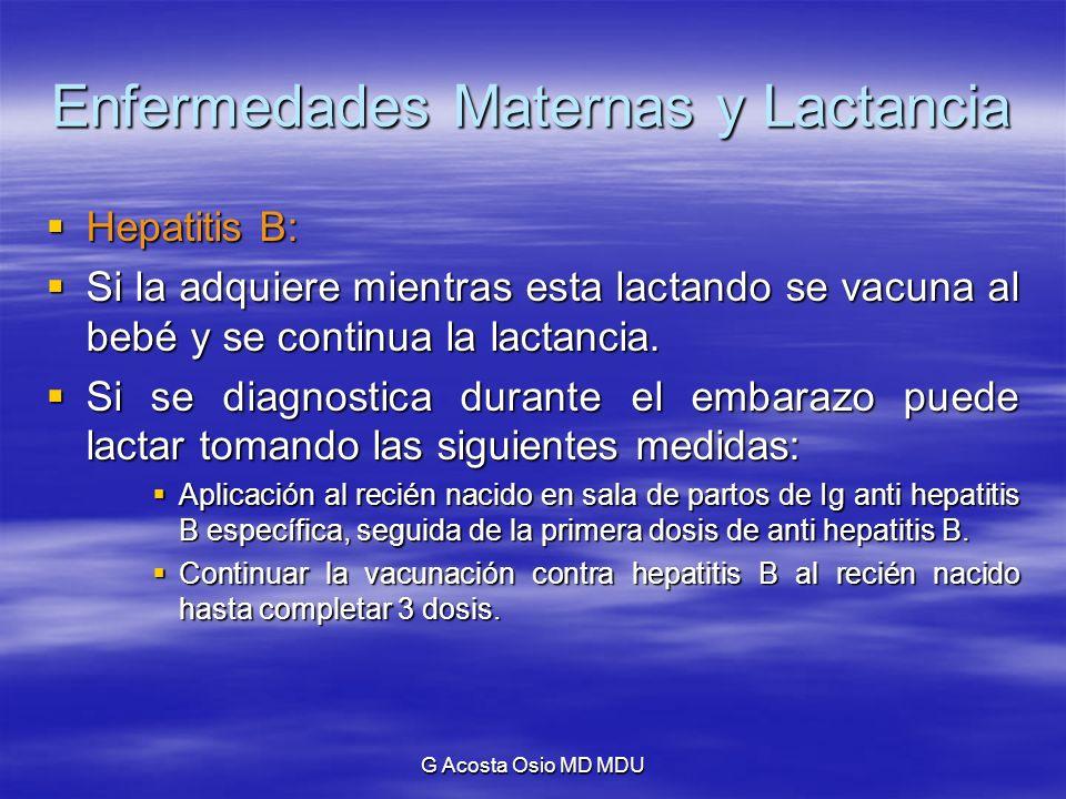 G Acosta Osio MD MDU Enfermedades Maternas y Lactancia Hepatitis B: Hepatitis B: Si la adquiere mientras esta lactando se vacuna al bebé y se continua