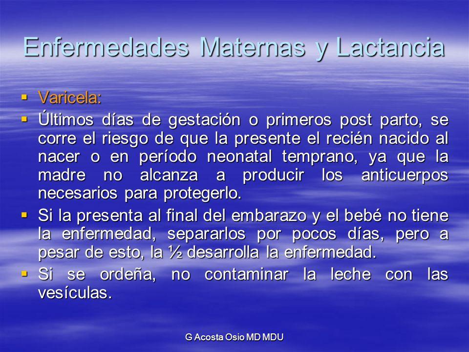 G Acosta Osio MD MDU Enfermedades Maternas y Lactancia Varicela: Varicela: Últimos días de gestación o primeros post parto, se corre el riesgo de que