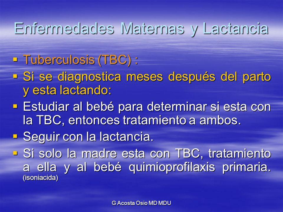 G Acosta Osio MD MDU Enfermedades Maternas y Lactancia Tuberculosis (TBC) : Tuberculosis (TBC) : Si se diagnostica meses después del parto y esta lact