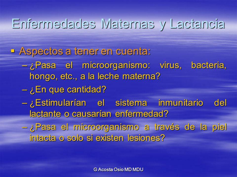 G Acosta Osio MD MDU Enfermedades Maternas y Lactancia Aspectos a tener en cuenta: Aspectos a tener en cuenta: –¿Pasa el microorganismo: virus, bacter